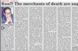 Run!!! The merchants of death and angry! Article by Prof. Arindam Chaudhuri, Kashmir Times