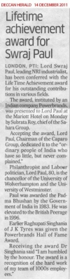 Lifetime achievement award for Swraj Paul - Deccan Herald, 14 December 2011